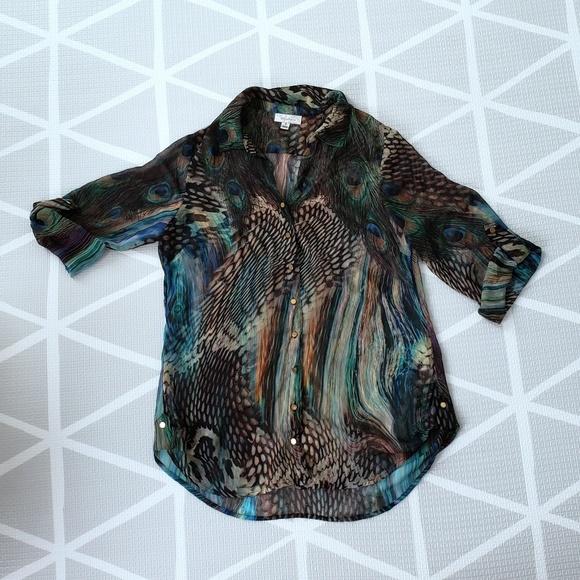 Dress Barn Tops - 🛍Dressbarn Peacock Print Blouse